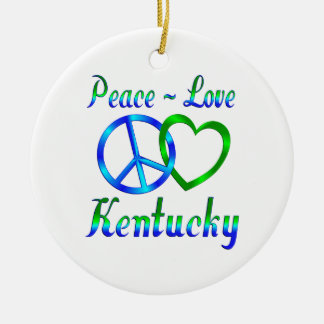 Peace Love Kentucky Round Ceramic Ornament