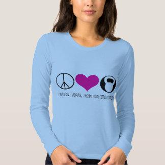 Peace love & kettle bells elite fitness tshirt