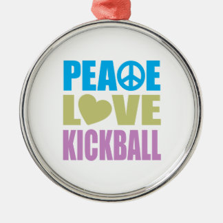 Peace Love Kickball Silver-Colored Round Ornament