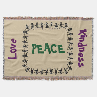 Peace Love Kindness Throw Blanket