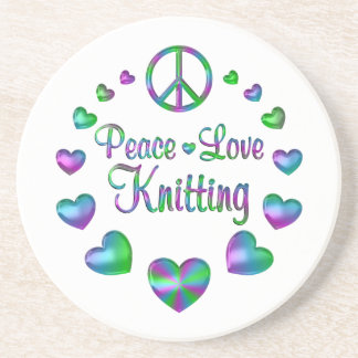 Peace Love Knitting Beverage Coaster