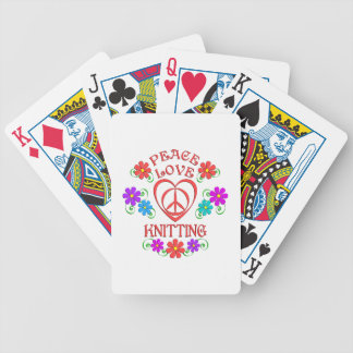Peace Love Knitting Bicycle Playing Cards