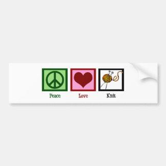 Peace Love & Knitting Bumper Sticker