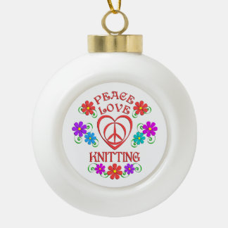 Peace Love Knitting Ceramic Ball Christmas Ornament