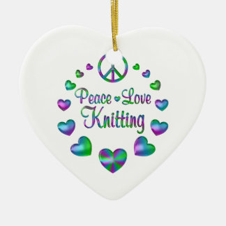Peace Love Knitting Ceramic Ornament