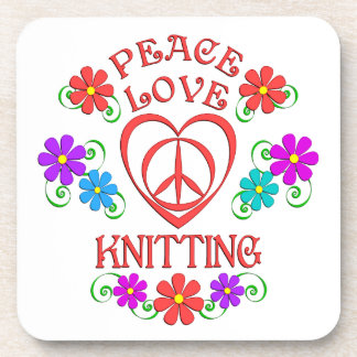 Peace Love Knitting Coaster