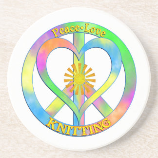 Peace Love Knitting Drink Coasters