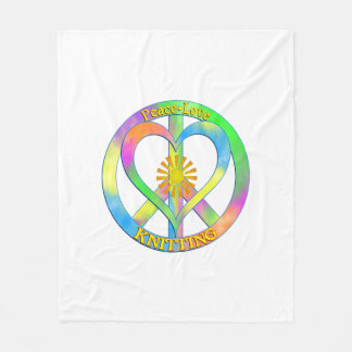 Peace Love Knitting Fleece Blanket