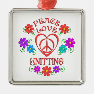 Peace Love Knitting Metal Ornament