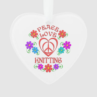 Peace Love Knitting Ornament