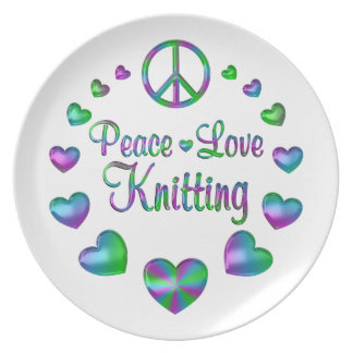 Peace Love Knitting Plate