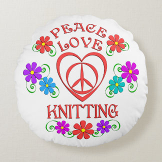 Peace Love Knitting Round Pillow