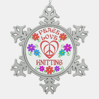 Peace Love Knitting Snowflake Pewter Christmas Ornament