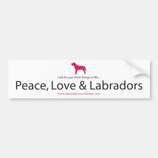 Peace, Love & Labradors Bumper Sticker