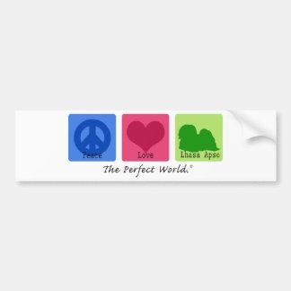 Peace Love Lhasa Apso Bumper Sticker
