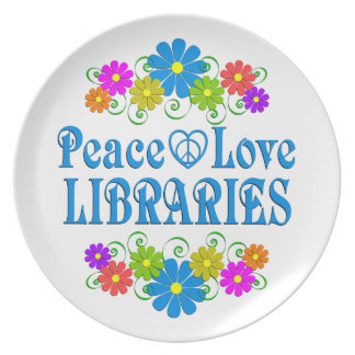 Peace Love Libraries Plate