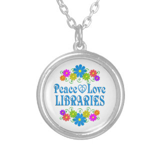 Peace Love Libraries Silver Plated Necklace