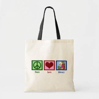 Peace Love Library Tote Bag