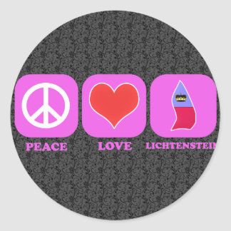 Peace Love Lichtenstein Classic Round Sticker