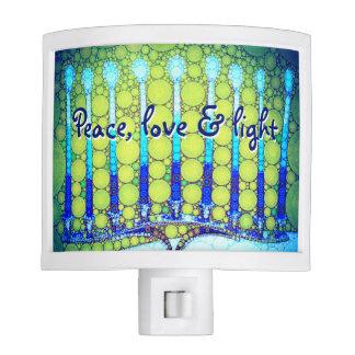 """Peace, Love & Light"" Blue Hanukkah Menorah Photo Night Lites"