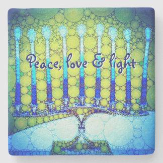 """Peace, Love & Light"" Blue Hanukkah Menorah Photo Stone Coaster"