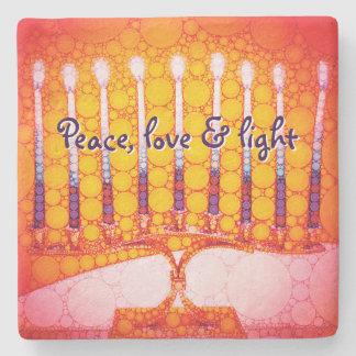 """Peace, Love & Light"" Red Hanukkah Menorah Photo Stone Coaster"