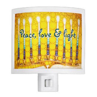 """Peace Love & Light"" Yellow Hanukkah Menorah Photo Nite Lights"
