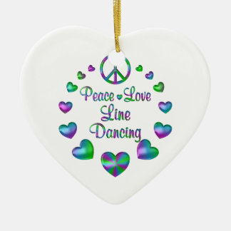Peace Love Line Dancing Ceramic Ornament