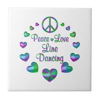 Peace Love Line Dancing Ceramic Tile