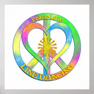 Peace Love Line Dancing Poster