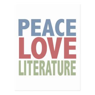 Peace Love Literature Postcard
