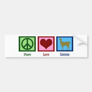 Peace Love Llamas Bumper Sticker