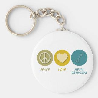 Peace Love Metal Detector Keychain