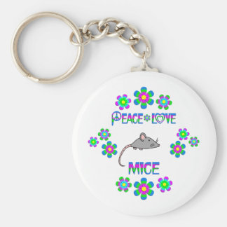 Peace Love Mice Basic Round Button Keychain