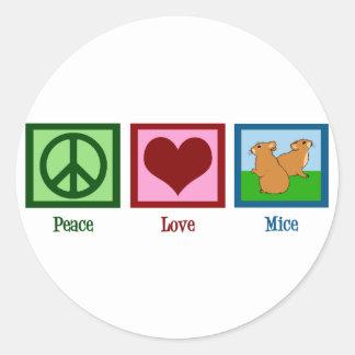 Peace Love Mice Classic Round Sticker