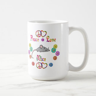PEACE LOVE MICE COFFEE MUG
