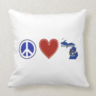 Peace Love Michigan Throw Pillow
