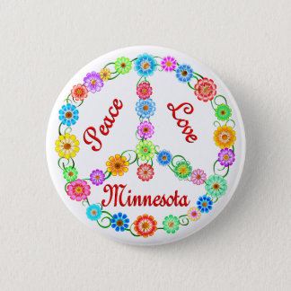 Peace Love Minnesota 2 Inch Round Button