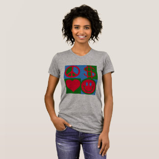 PEACE LOVE MONEY HAPPY women's t-shirt