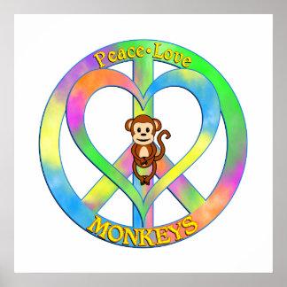 Peace Love Monkeys Poster