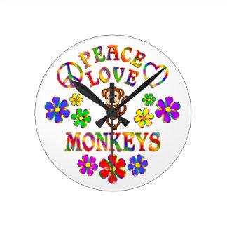 Peace Love Monkeys Wallclock
