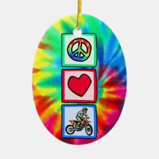 Peace, Love, Motocross Ceramic Ornament