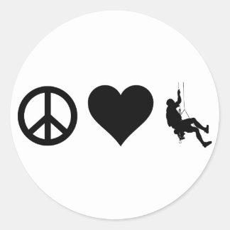 Peace Love Mountain Climbing Round Sticker