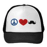 Peace, Love, Moustache Trucker Hat