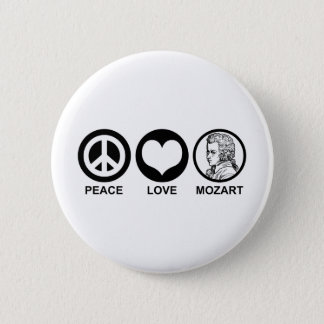 Peace Love Mozart 2 Inch Round Button