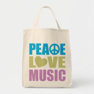 Peace Love Music Canvas Bag