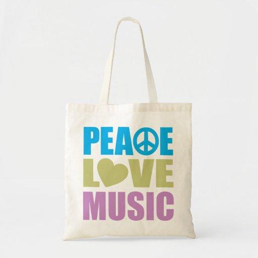Peace Love Music Canvas Bags