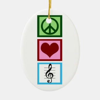 Peace Love Music Custom Ceramic Oval Ornament