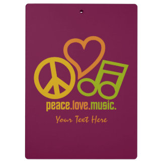 Peace Love Music custom clipboard