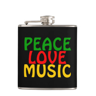 Peace Love Music Green Red Gold Hip Flask